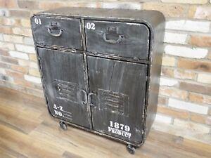 Vintage-Industrial-Style-Metal-Storage-Cabinet-Sideboard-W77cm-x-H87cm-x-D30cm
