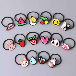 5Pcs/set Acrylic Animal Fruit Hairband Kids Hair Accessories Baby Girl Hair Rope