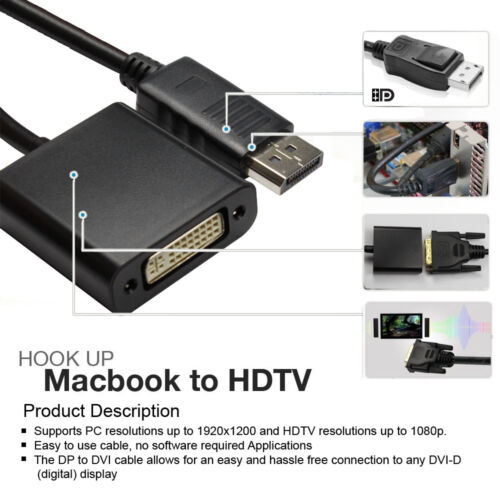 6FT DVI LCD Monitor Cable Gold Plated DisplayPort to DVI Video Adapter Cable