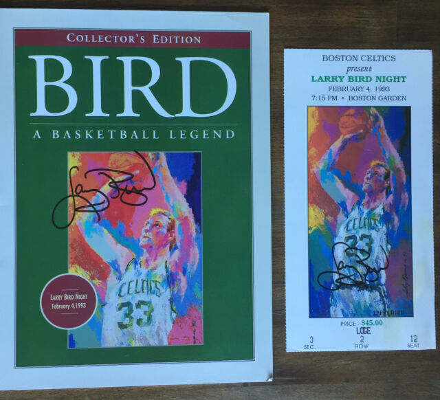 1993 LARRY BIRD Retirement NIGHT (Boston Garden) auto'd ticket program CELTICS