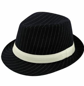 Details about Mens Deluxe Black Al Capone Fedora Pin Stripe Gangster Trilby  Hat Accessory 8b3982b3ddd