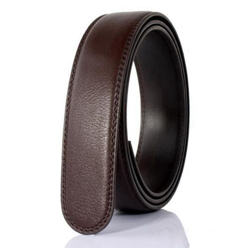 Men Genuine Leather No Automatic Buckle Strap Waist Belts Waistband 125-130cm