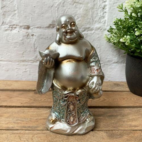 Bleu Debout Happy Bouddha sur socle décoratif Statue Sculpture Ornement Petit