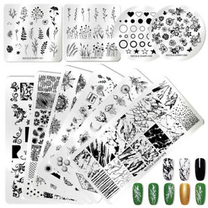 NICOLE-DIARY-Nail-Stamping-Plates-Valentine-039-s-Day-Lace-Flower-Image-Templates