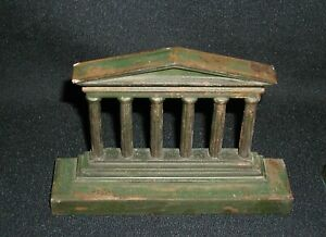 Pair-of-Temple-Architectural-Columns-Antique-Cast-Iron-Bookends-7-034-x-4-75-034-7-lbs
