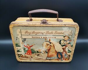 Vintage Roy Rogers and Dale Evans Lunch Box Double R Bar Ranch Thermos Brand