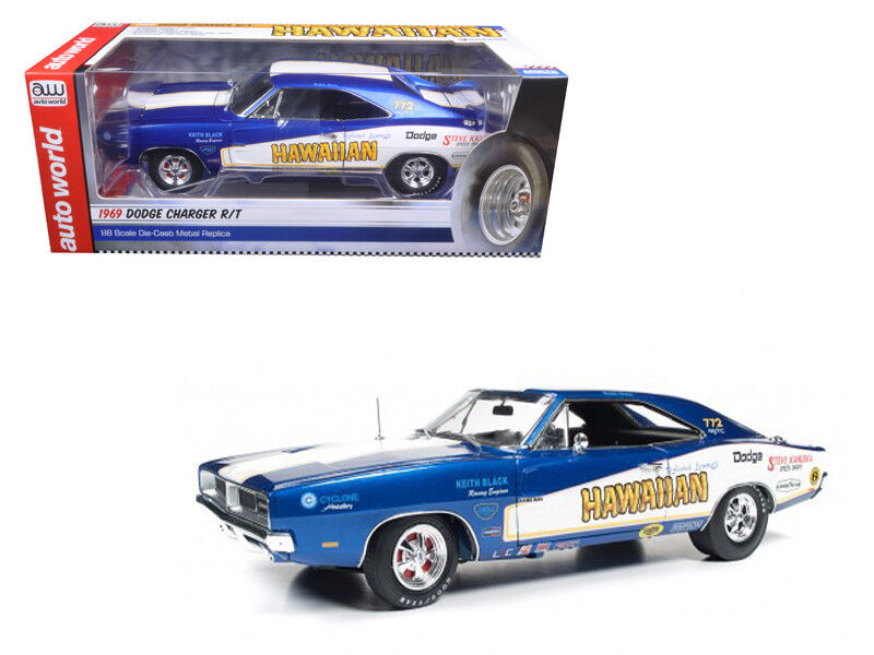 Auto World 1 18 1969 Dodge Charger R T  772 Roland Leong's Hawaiian Diecast AW231  nouvelle marque