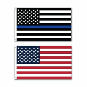 2-Pack-Police-Thin-Blue-Line-and-U-S-American-Flag-3x5-Foot-with-Grommets