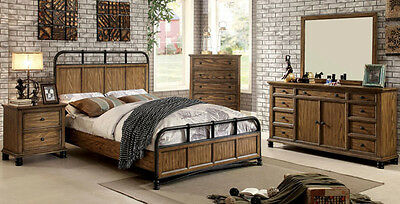 NEW 4PC MARION ANTIQUE BLACK METAL DARK OAK FINISH WOOD QUEEN KING BEDROOM  SET | eBay