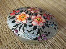 Hand painted kashmir papier mache oval shaped silver glitter floral trinket box