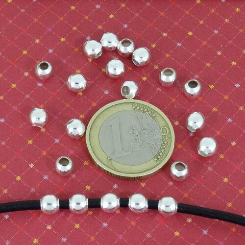 240 Rund 5mm T347H Loch 2,5mm Silber Runde Bälle Plattiert Abstandhalter Argento