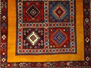"""C 1970 Kurdish Yalameh Antique Persian Exquisite Hand Made Rug 3' 4"""" x 5' 2"""""""