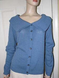Nice Blue St John Sport Ladies Cardigan Sweater Size L Large 12