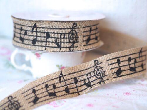 1 Metre Musical Notes Print Hessian Jute Ribbon Gift Wrap Card Making Scrapbook