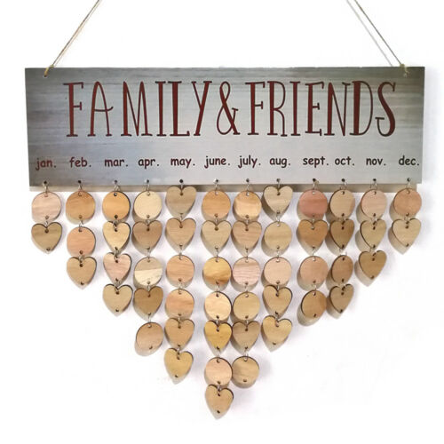 Birthdays Calendar Reminder Boards Hanging Wooden Sign DIY Token Hearts Circles