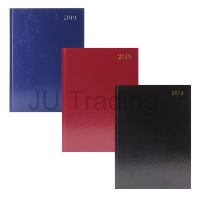 A4 2019 Day to Page Diary with Black Hardback Cover