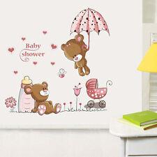 BT Rabbit Flower Wall Sticker For Baby Girls Kids Rooms Home Cartoon Cat