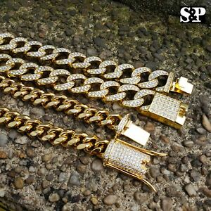Hip-Hop-Lab-Diamond-Iced-out-Miami-Cuban-Link-Iced-lock-Chain-2-Necklace-set