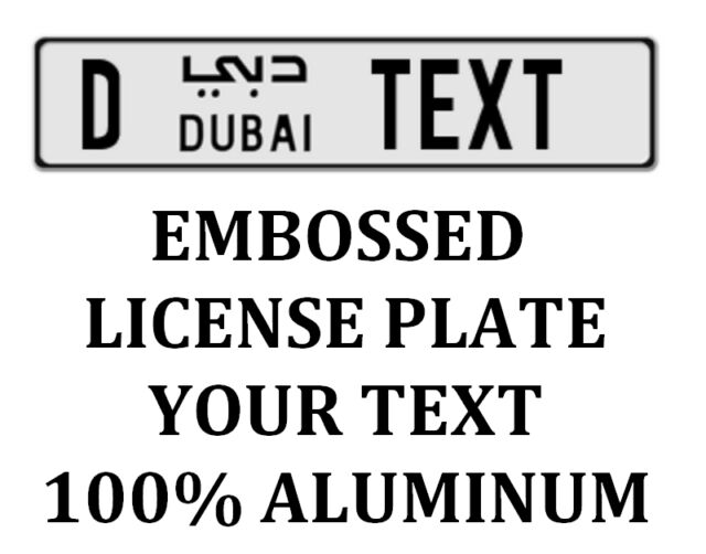 Dubai Euro Arabic License Plate Arab Number Tag Customized Your Text Original
