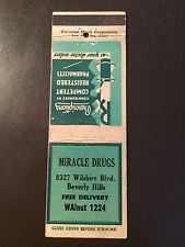 Miracle Drug Store - Wilshire Blvd - Beverly Hills, Ca. Vintage Matchbook Cover