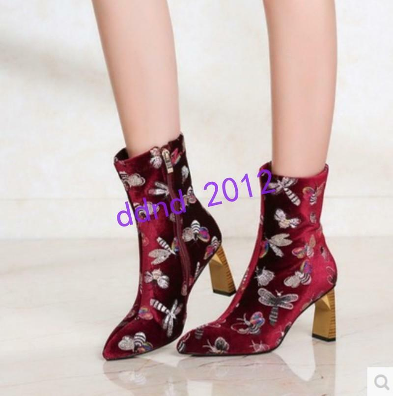 womens high top ankle boots embroidered floral block heel shoes party ziper