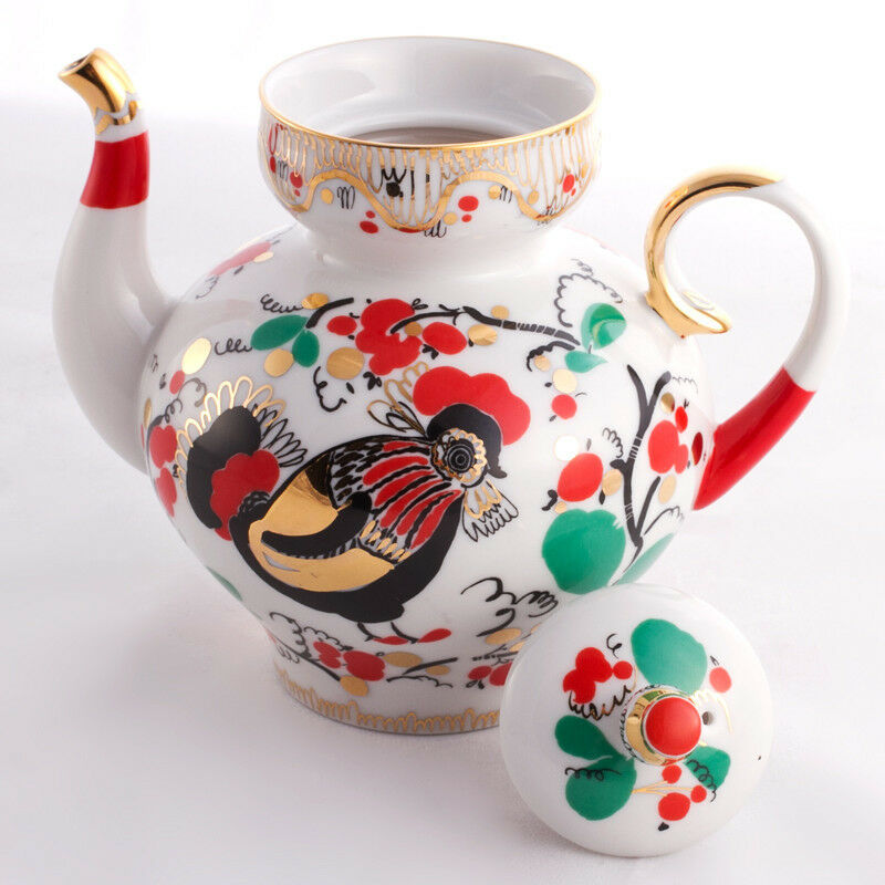 20 fl oz Roosters Brewing Teapot. Imperial Lomonosov Porcelain Porcelain Porcelain Tea Pot 3177f4