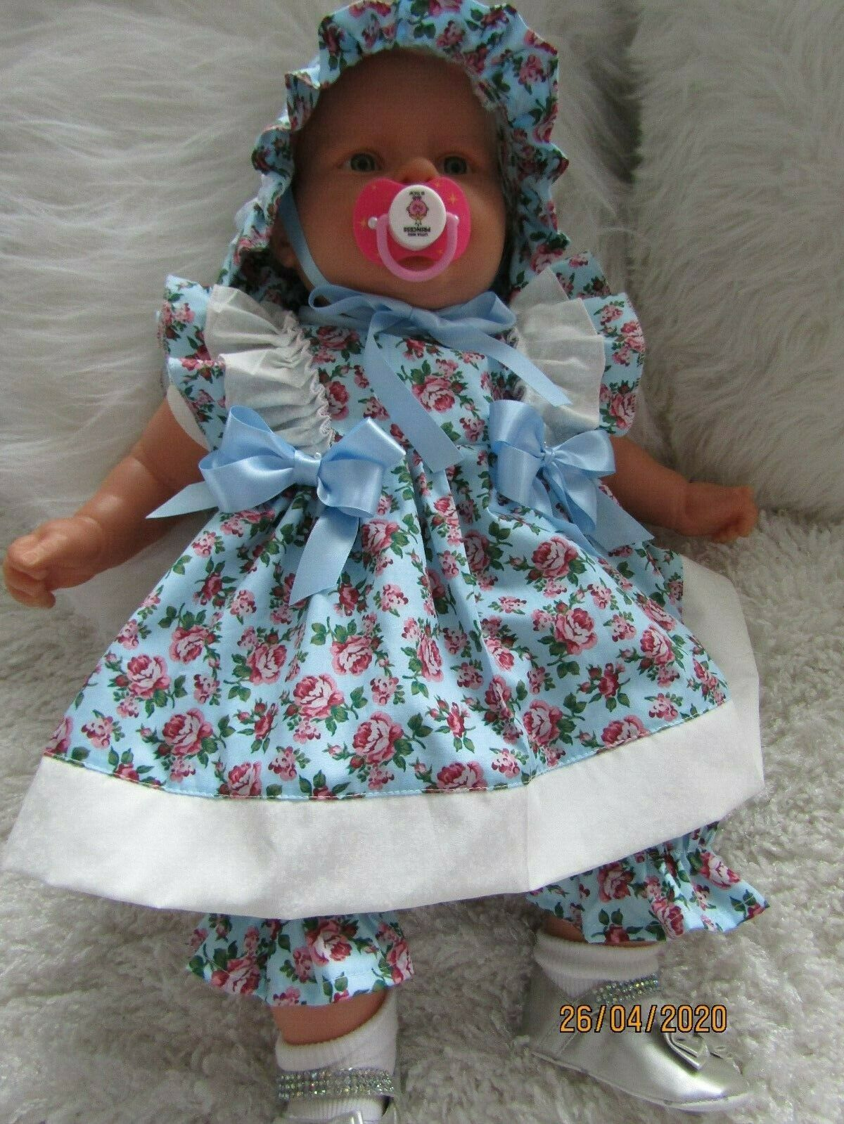 """, CLOTHES FOR 3-6MTHS BABY = 22"""" REBORN THREE PIECE DRESS SET BLUE /PINK -NEW"""