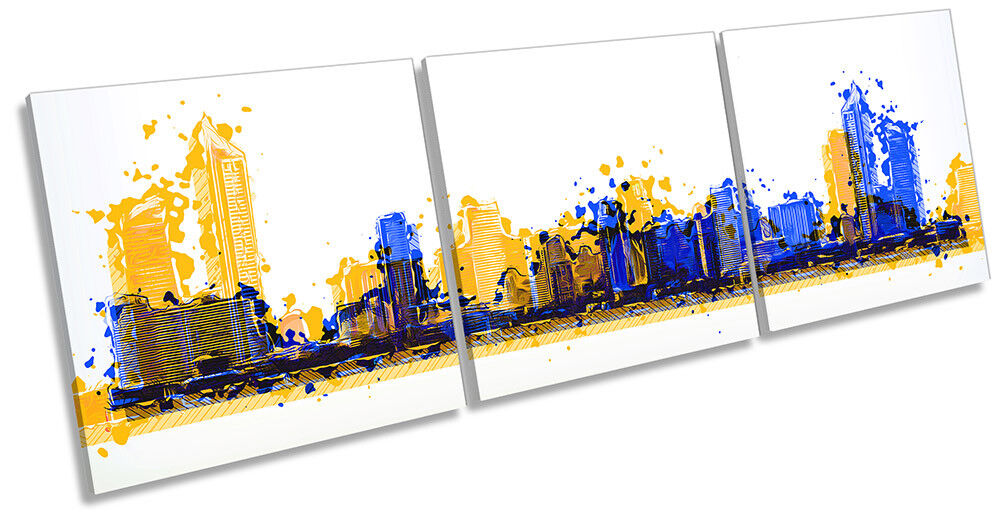 Abstract Skyline Cityscape Picture CANVAS WALL ART Triple Print