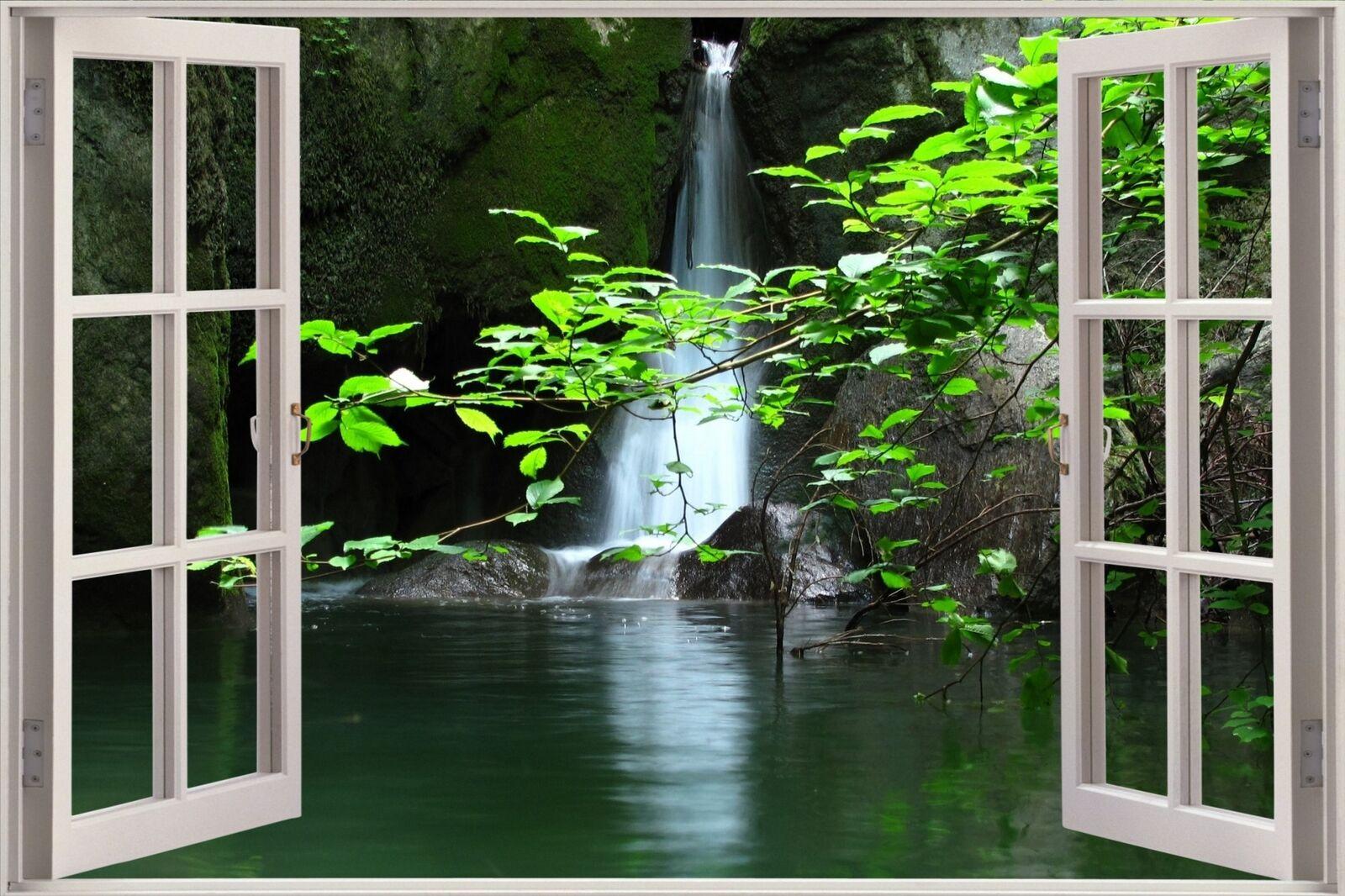 Enorme 3D Finestra Vista bellissimo lago cascata muro Adesivo Adesivo Adesivo Decalcomania Carta Da Parati S87 0441b7