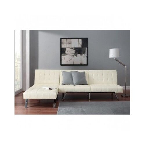 Queen Sofa Bed Sleeper Futon Chaise Lounge White Faux Leather
