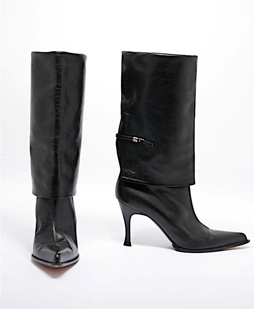 POLLINI nero Softest Leather stivali w Apron+Buckle Detail-Ex Cond+38.5 US 8.5