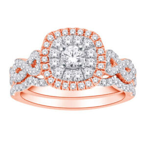 10K-Rose-Gold-Women-039-s-Engagement-Ring-and-Wedding-Band-Set-with-1-00-CT-Diamond