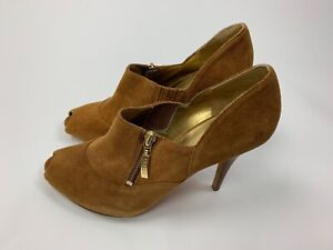 Details about NEW Guess Marciano Camel Tan Suede Leather Peep Toe Bootie Heels Shoes 9.5 M
