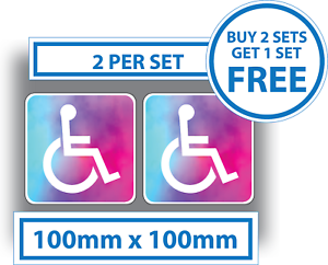 2 x Disabled Stickers Blue Badge Psychedelic Sticker Tie Dye Car Self Adhesive
