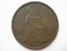 1874-H Penny, GF, F71.