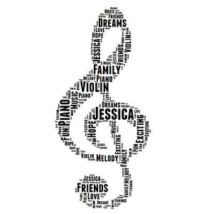 Personalised Music Treble Clef Word Art Print Great Gift Son