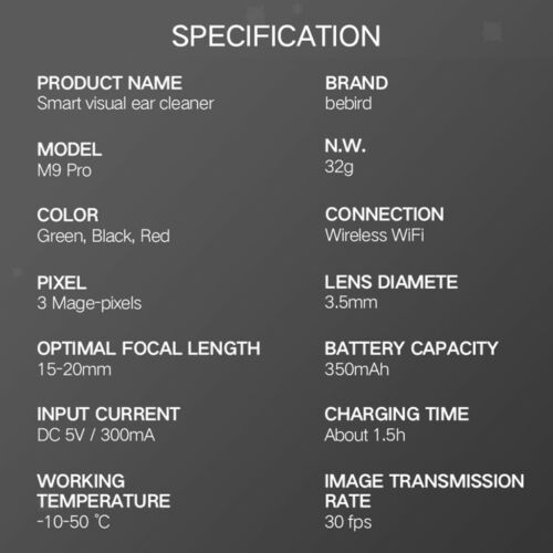 Bebird M9 Pro Visual Ear Stick In-Ear Endoscope 300W Camera Otoscope Set