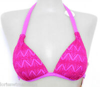 Hula Honey Junior X-small Solid Pink Crochet Push-up Bikini Swimsuit Top Xs