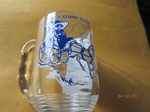 "Vintage 5"" Heavy Glass Mug THE OLD GRAY MARE  Lyrics Whimsical Horse & Carriage"