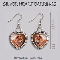 CHOW CHOW DOG Red - HEART EARRINGS Ornate Tibetan Silver