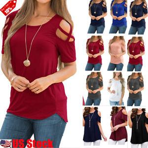 efa36866472 Plus Size Womens Summer Cold Shoulder Tee Top Short Sleeve Blouse ...