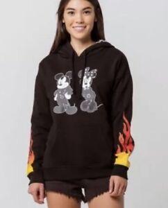 cb57adbf4c32e4 Vans x Disney Punk Mickey Mouse Hoodie Fire Flames Black WMNS SZ S ...