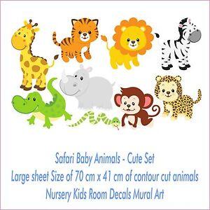 Image Is Loading Safari Baby Animals Set Nursery Room Colour