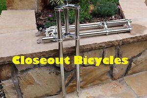 "BICYCLE 1/"" TRIPLE TREE FORK 28/"" LONG THREADED CHOPPER BEACH CRUISER NEW!"