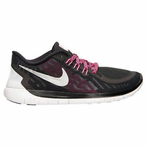 New Nike Youth Free 5.0 GS Black Silver Pink Boys Girls Running ... 4afc37399