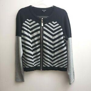 Coco-Carmen-Zip-Cardigan-Size-SMALL-Black-Gray-Striped-Sweater-Women-NWT