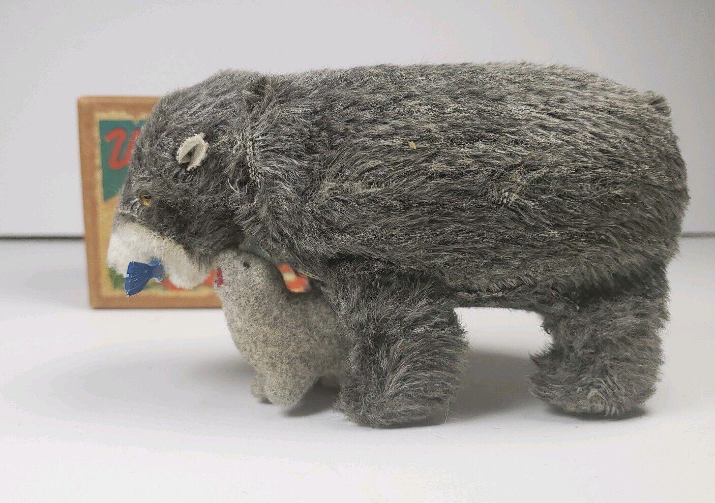 1950s caminar oso peces en Boca con Cub Cuerda Toy Box Rare versión de Japón Funciona