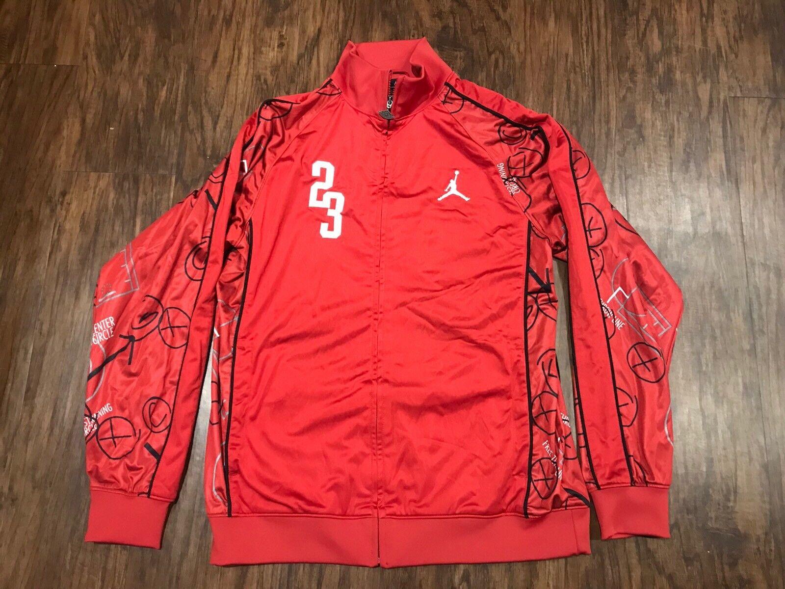 Air Jordan Mens XL Red Center Circle Free Throw Full Zip Basketball Sweater