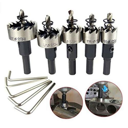 5PCS HSS Drill Bit Hole Saw Tooth Set Stainless Steel Metal Cutter 16-30mm FI