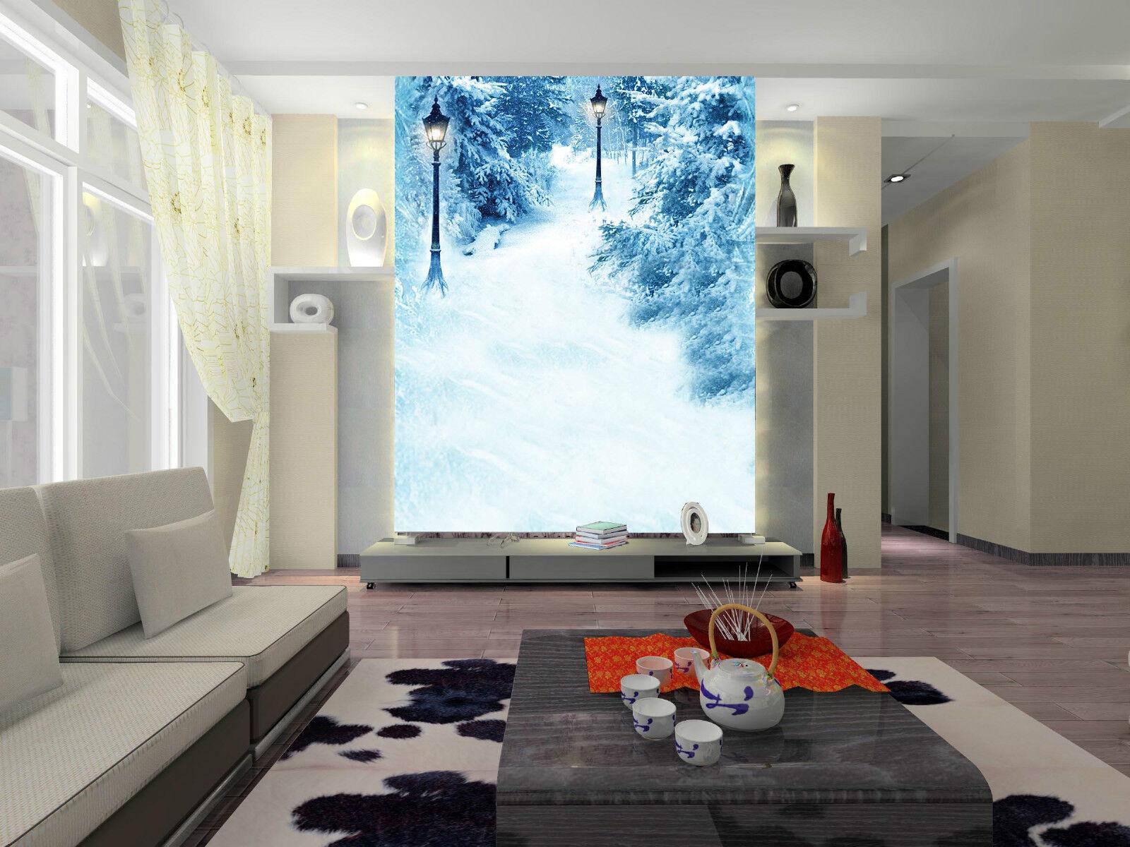 3D Straßenlaterne im schnee31 Fototapeten Wandbild Fototapete BildTapete Familie